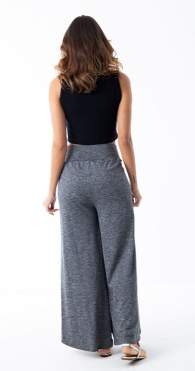 Calça Feminina Mescla Pantalona Abertura