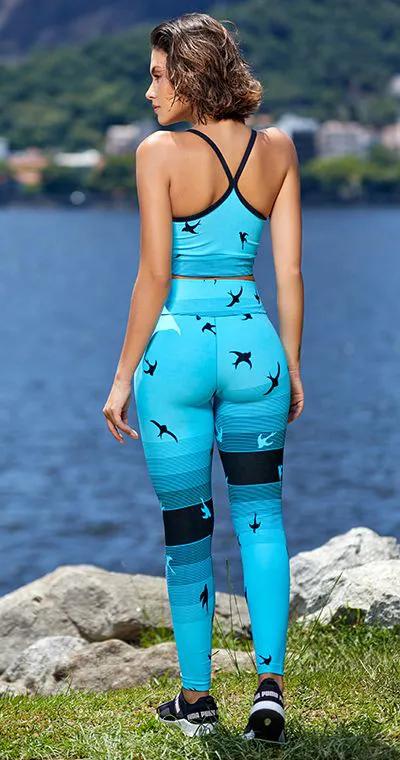 Calça Fitness Jacquard Bird Azul