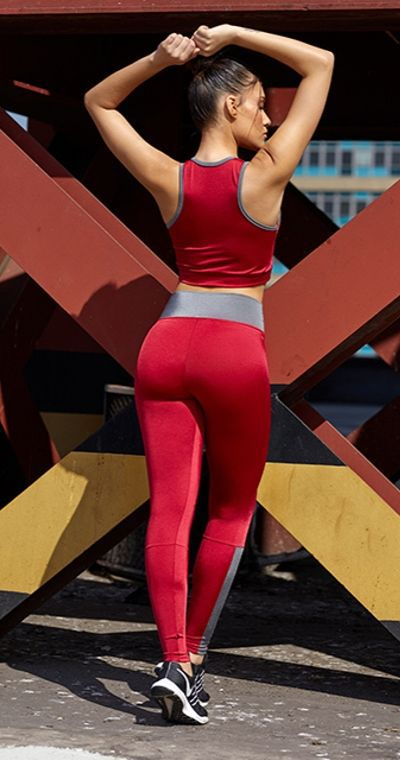 Calça Fitness Red  Gray Metal