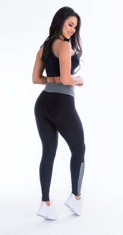 Calça Legging  Black Gray Metal