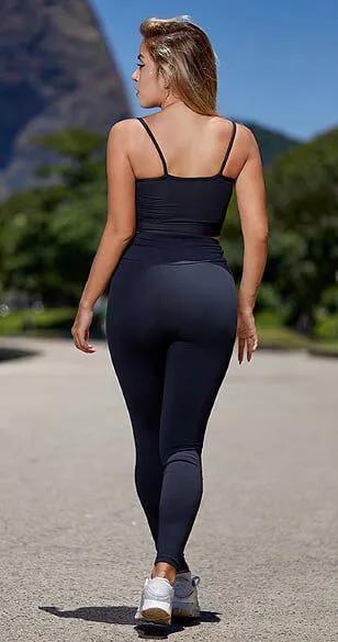 Calça Legging Fitness Cinza e Preto