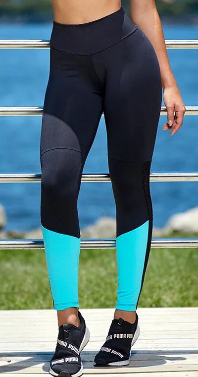 Calça Legging Fitness Recorte Azul