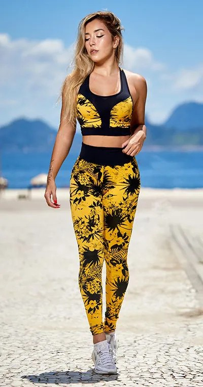 Calça Legging Jacquard Tropical