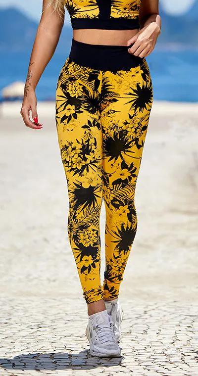 Calça Legging Jacquard Tropical