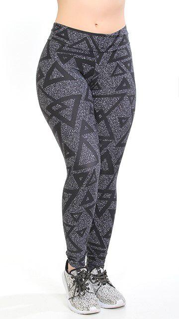 Calça Legging Poliamida Estampado Triangulo