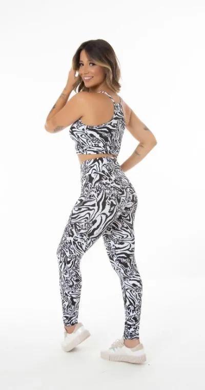 Conjunto Fitness Cintura Alta Felina