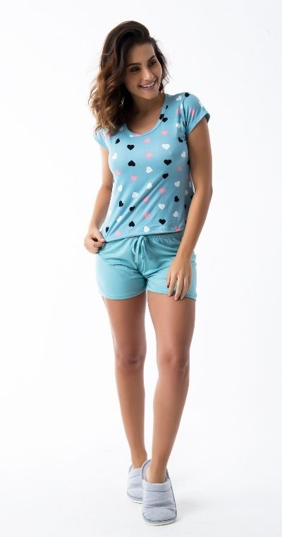 Pijama Curto ClickModa Coração Green