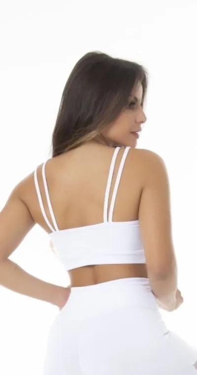 Top Fitness Poliamida Branco Tais