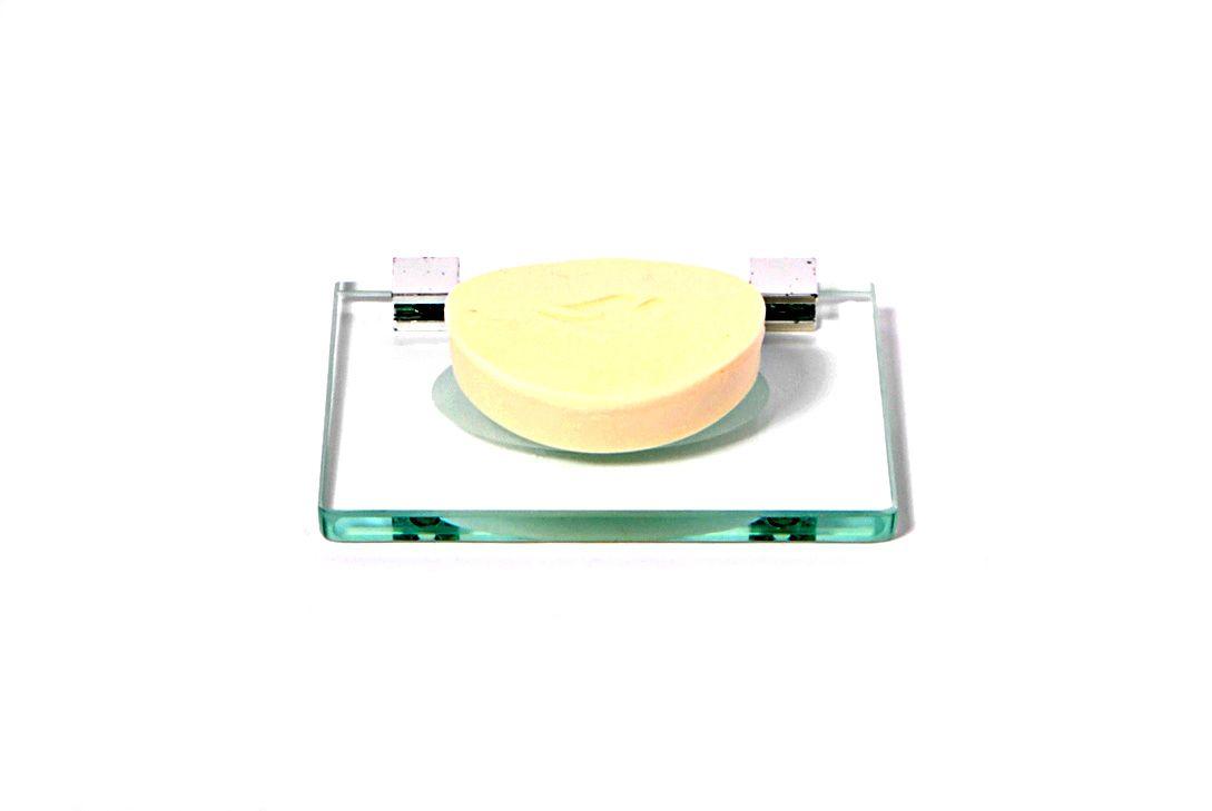 10 Saboneteiras em Vidro Incolor Lapidado - Aquabox  - 14cmx9cmx10mm.