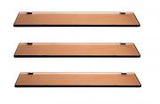 03 Porta Shampoos Bronze 400x100x8mm com Suporte Quadrados