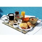 Bandeja Aquabox para café da manhã em vidro refletivo na cor champagne 8mm temperado 42cmx36cm