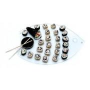 Tábua Sushi Peixe em Vidro Incolor 6mm Temperado com 40cm x 30cm e pés em Aluminio. Acompanha Nozoku Maru