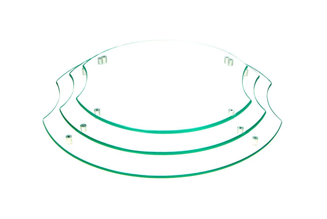 Jogo com 3 tábuas de frios redondas em vidro incolor 6mm temperado 30cm 35cm e 40cm Aquabox