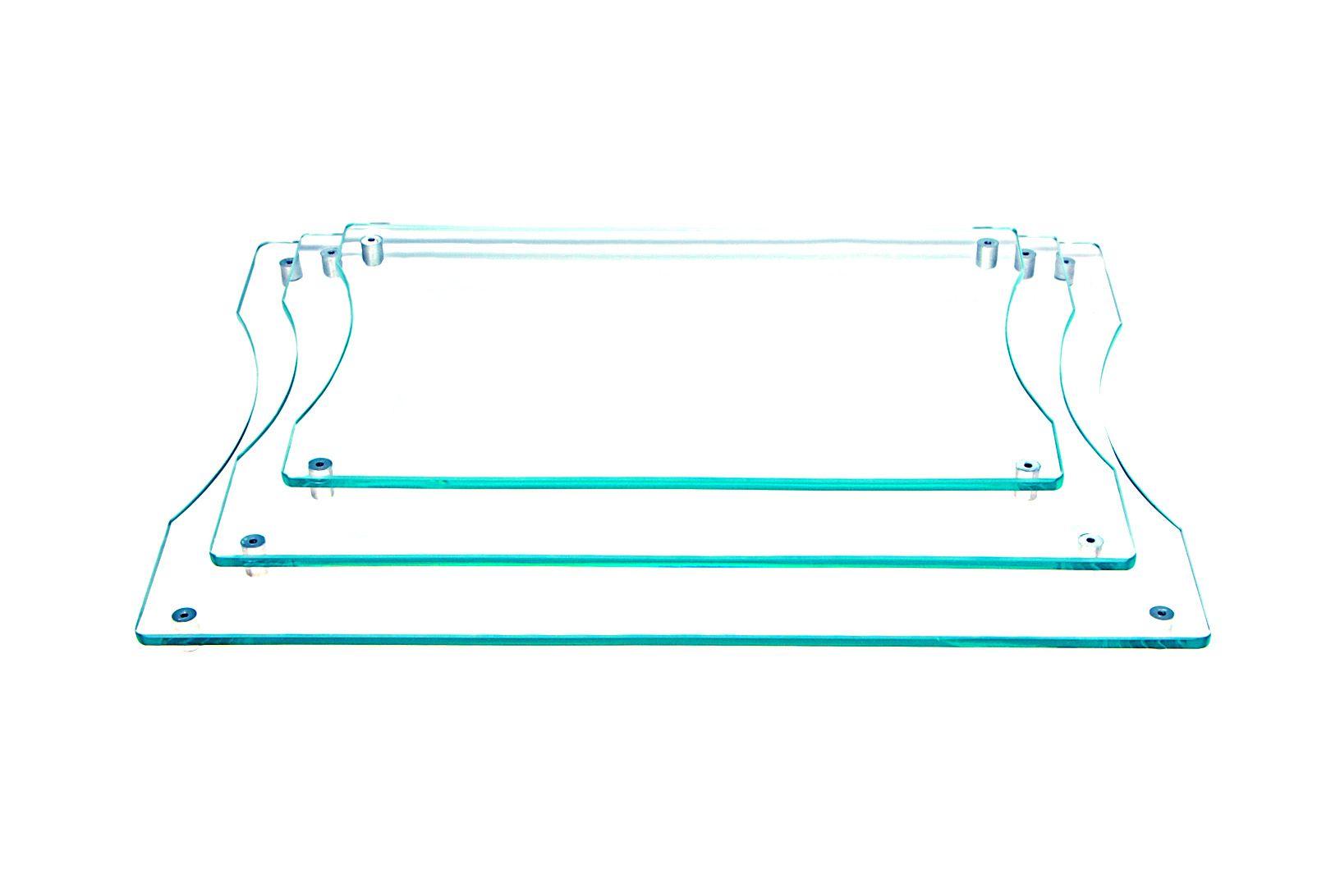 Jogo com 3 tábuas de frios retangulares em vidro incolor 6mm temperado 20x30cm 25x35cm e 30x40cm Aquabox