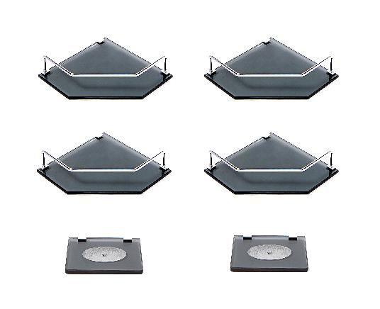 Kit contendo 04 Portas Shampoos de canto reto em vidro fumê 8mm + 02 Saboneteiras em vidro fumê 8mm