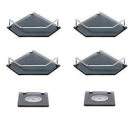 Kit contendo 04 Portas Shampoos de canto reto, em vidro fumê 8mm + 02 Saboneteiras em vidro fumê 8mm
