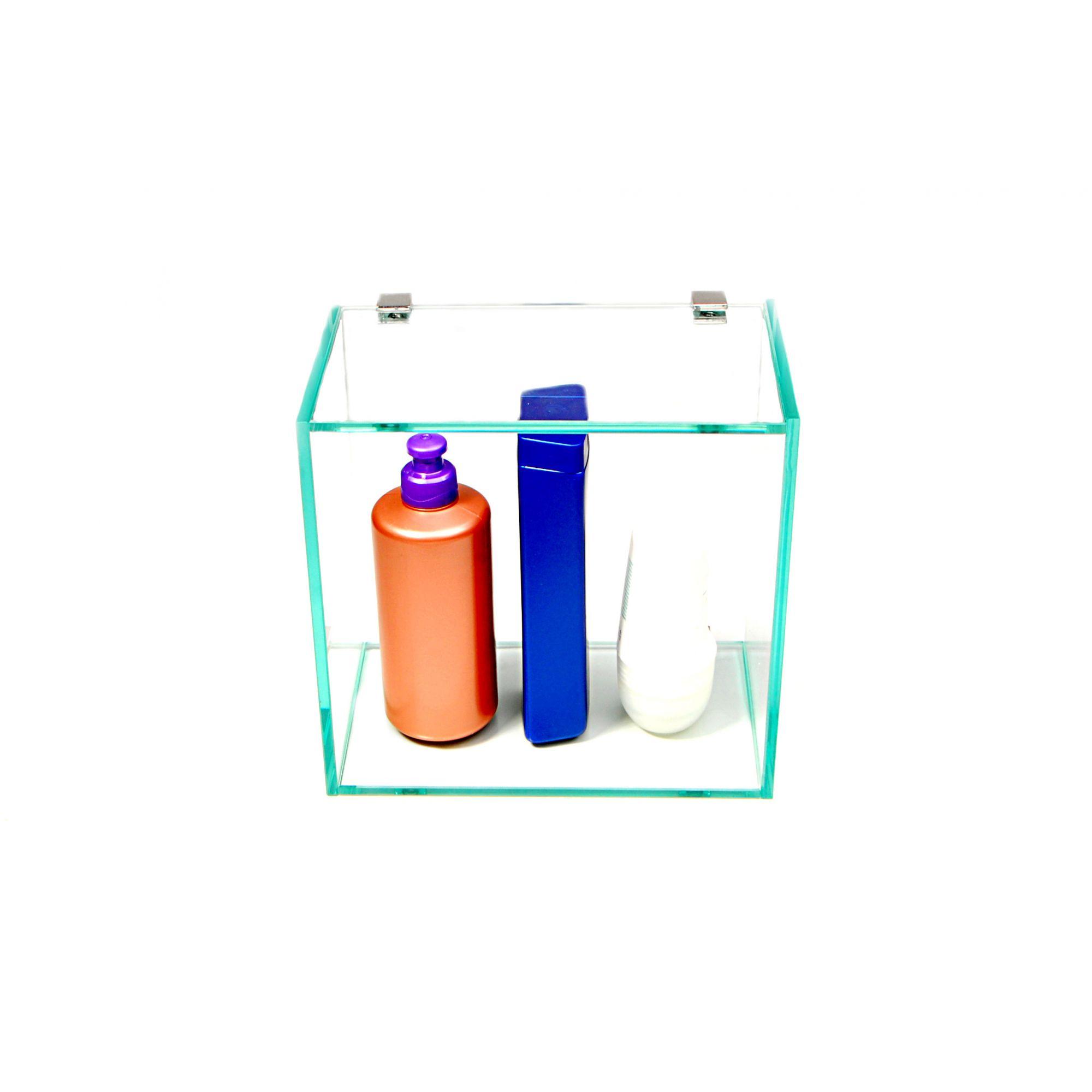 Nicho em Vidro Incolor 6mm com Suportes Redondos - Aquabox  - 20cmx20cmx12cm