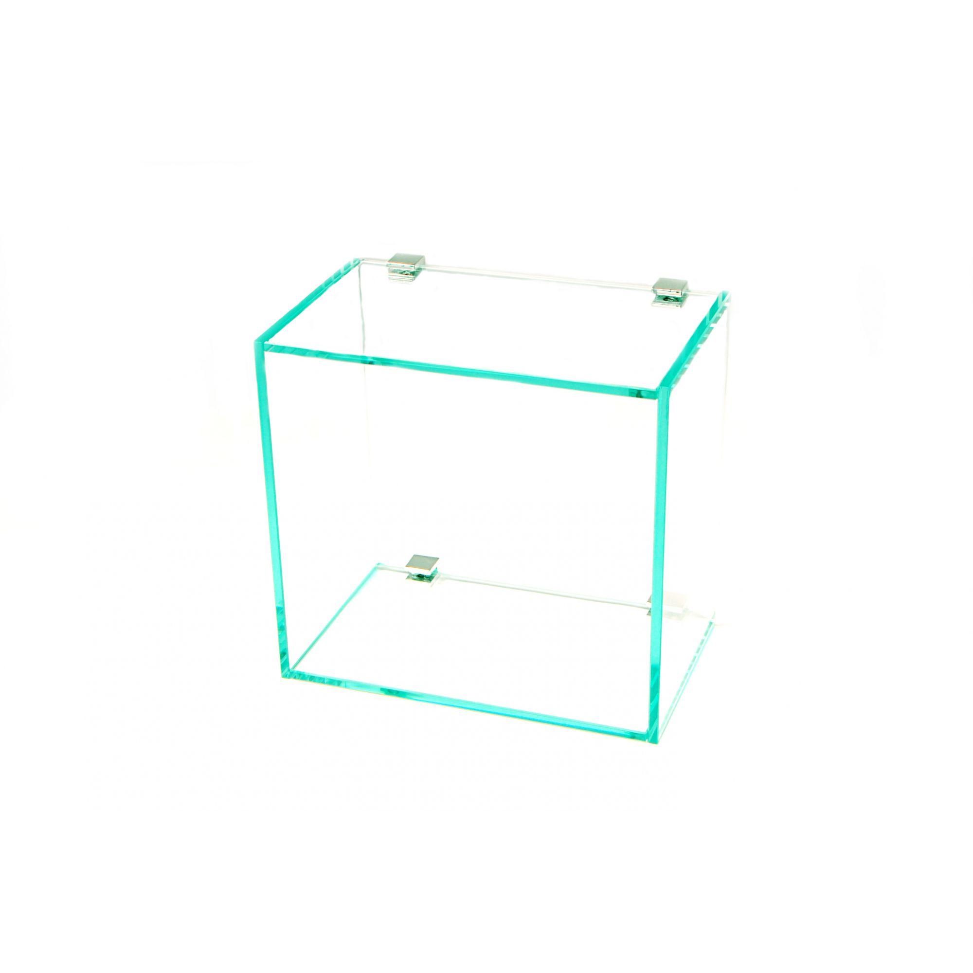 Nicho em Vidro Incolor 6mm com Suportes Quadrado - Aquabox  - 20cmx20cmx12cm