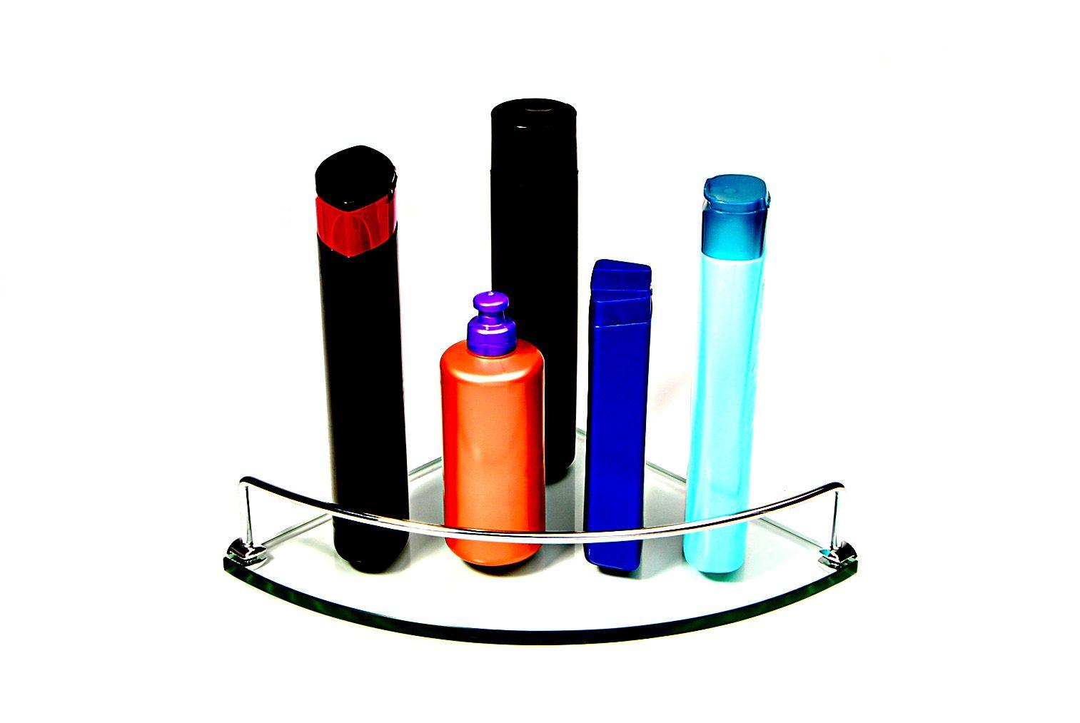 Porta shampoo de canto curvo em vidro incolor 10mm, lapidado, com suportes redondos e aramado - Aquabox - 25cmx25cmx10mm