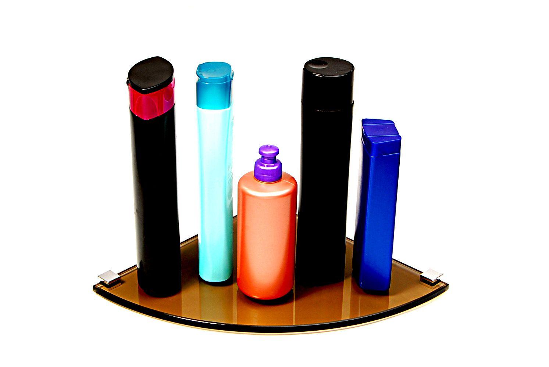 Porta Shampoo de Canto Curvo em Vidro Bronze Lapidado - Aquabox  - 25cmx25cmx8mm