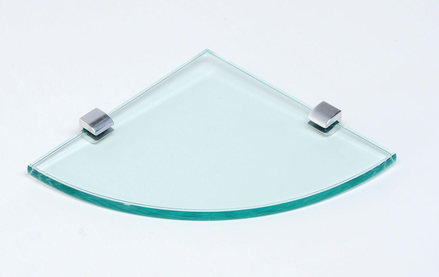 Porta Shampoo de Canto Curvo em Vidro Incolor Lapidado Premium - Aquabox  - 20cmx20cmx10mm