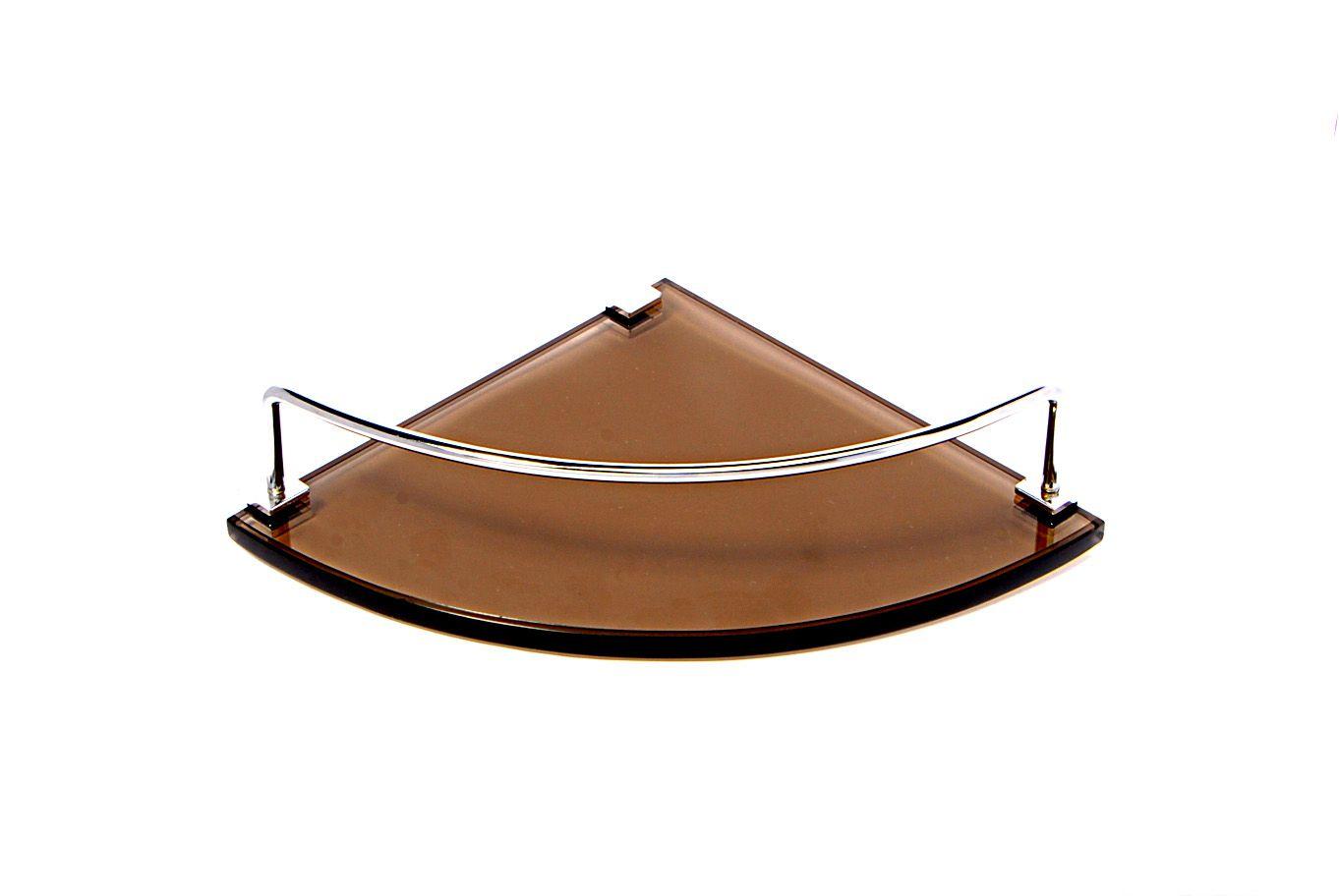 Porta Shampoo de Canto Curvo em Vidro Bronze Lapidado - Aquabox  - 20cmx20cmx10mm