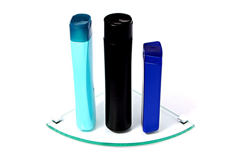 Porta Shampoo de Canto Curvo em Vidro Incolor Lapidado - Aquabox  - 20cmx20cmx8mm