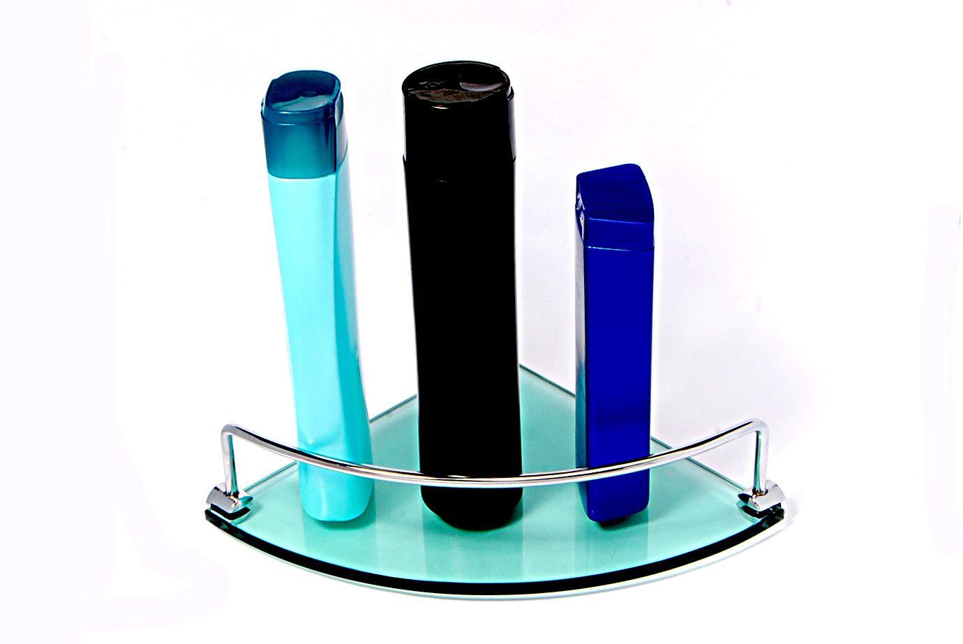 Porta Shampoo de Canto Curvo em Vidro Verde Lapidado - Aquabox  - 20cmx20cmx8mm
