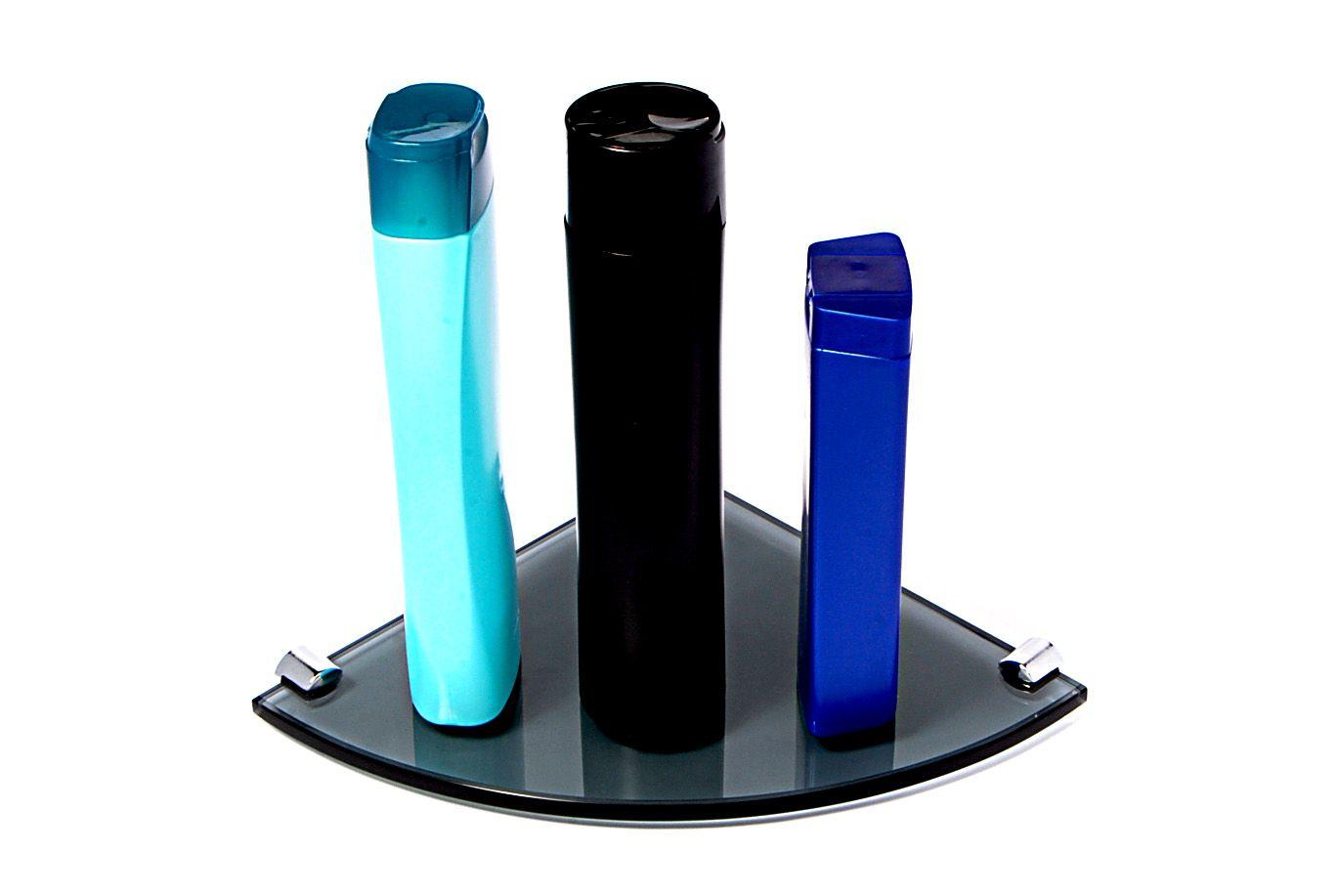 Porta Shampoo de Canto Curvo em Vidro Fumê Lapidado - Aquabox  - 20cmx20cmx8mm