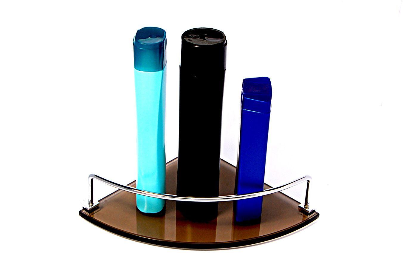 Porta Shampoo de Canto Curvo em Vidro Bronze Lapidado - Aquabox  - 20cmx20cmx8mm