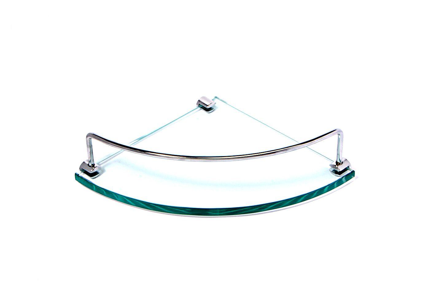 Porta Shampoo de Canto Curvo em Vidro Incolor Lapidado - Aquabox  - 20cmx20cmx10mm