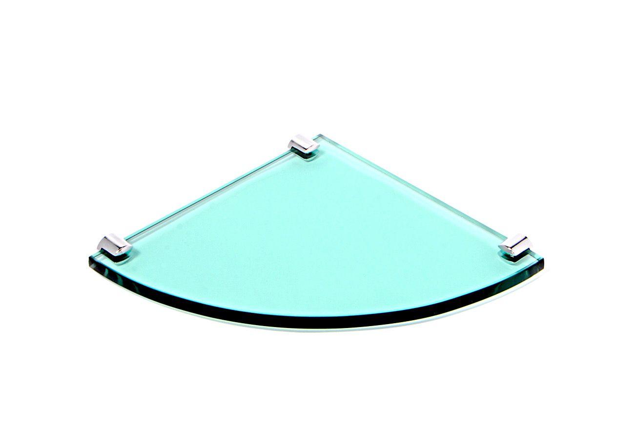 Porta Shampoo de Canto Curvo em Vidro Verde 10mm Lapidado - Aquabox  - 20cmx20cmx10mm