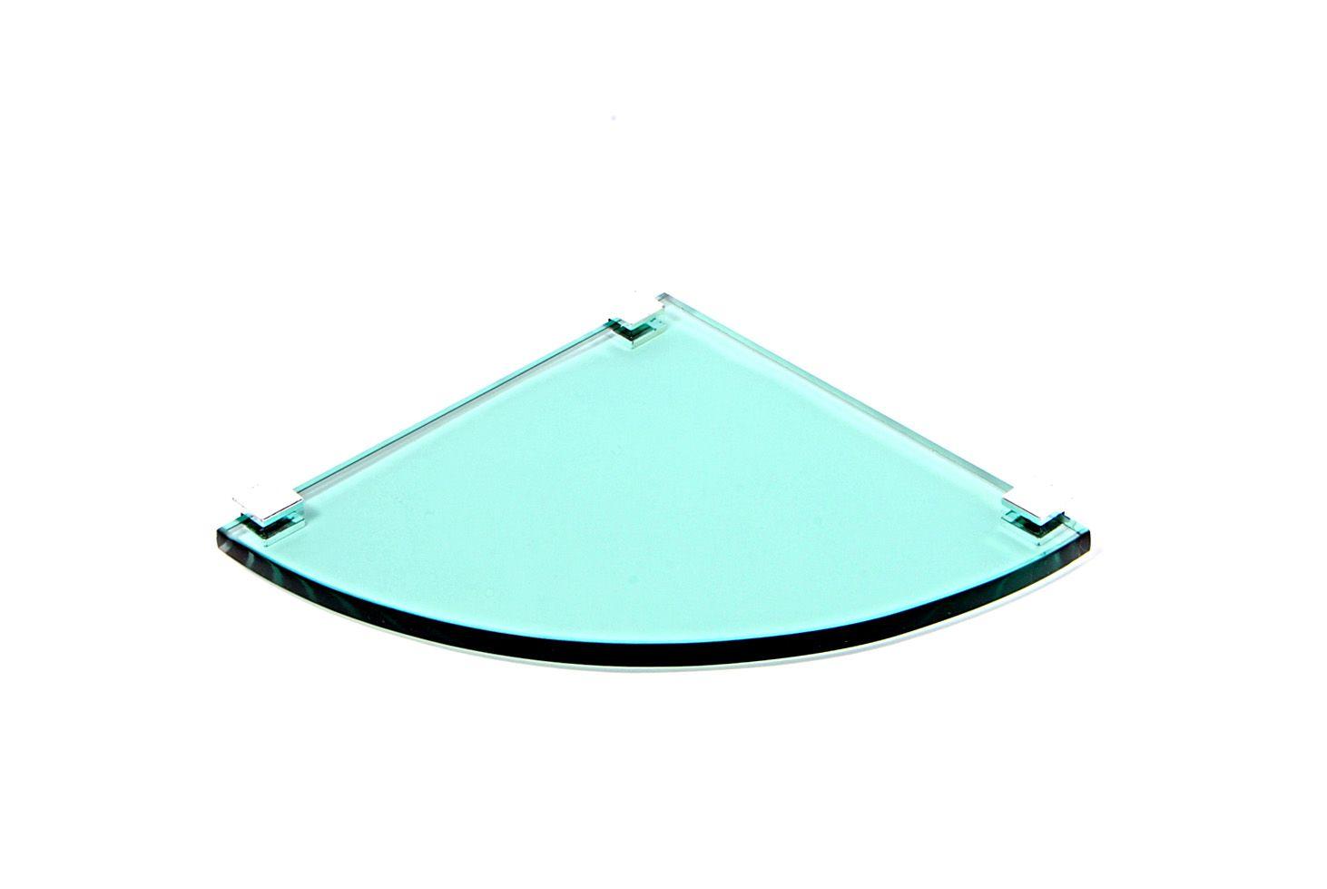 Porta Shampoo de Canto Curvo em Vidro Verde Lapidado - Aquabox  - 20cmx20cmx10mm