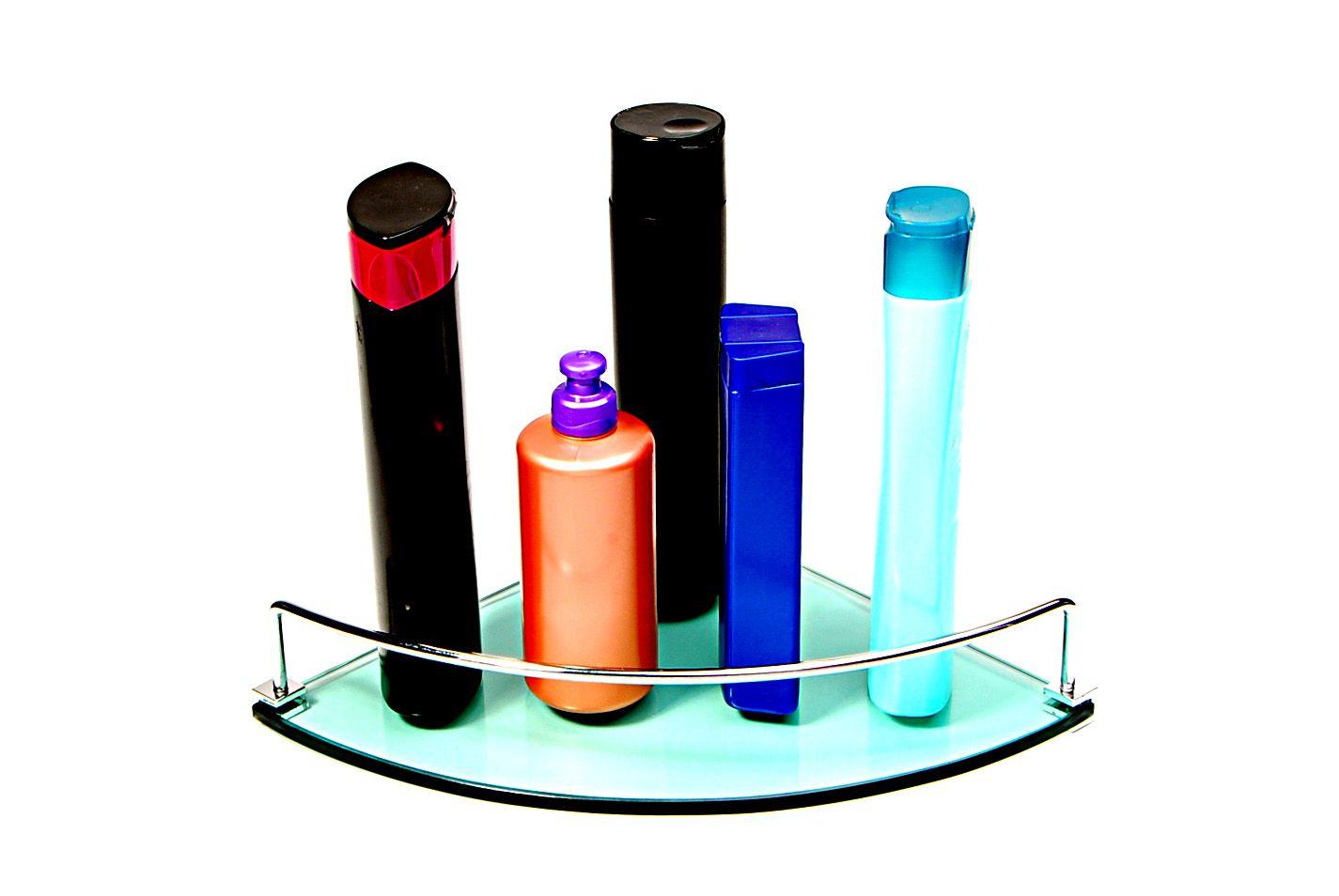 Porta Shampoo de Canto Curvo em Vidro Verde Lapidado - Aquabox  - 25cmx25cmx8mm