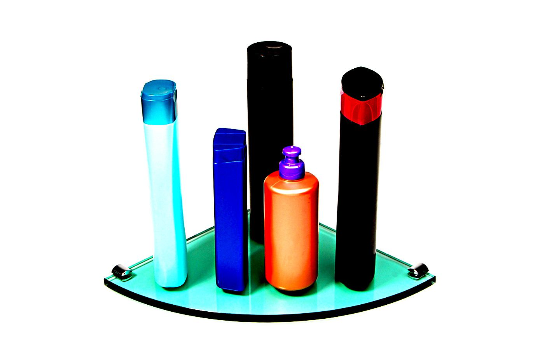 Porta Shampoo de Canto Curvo em Vidro Verde Lapidado - Aquabox  - 25cmx25cmx10mm