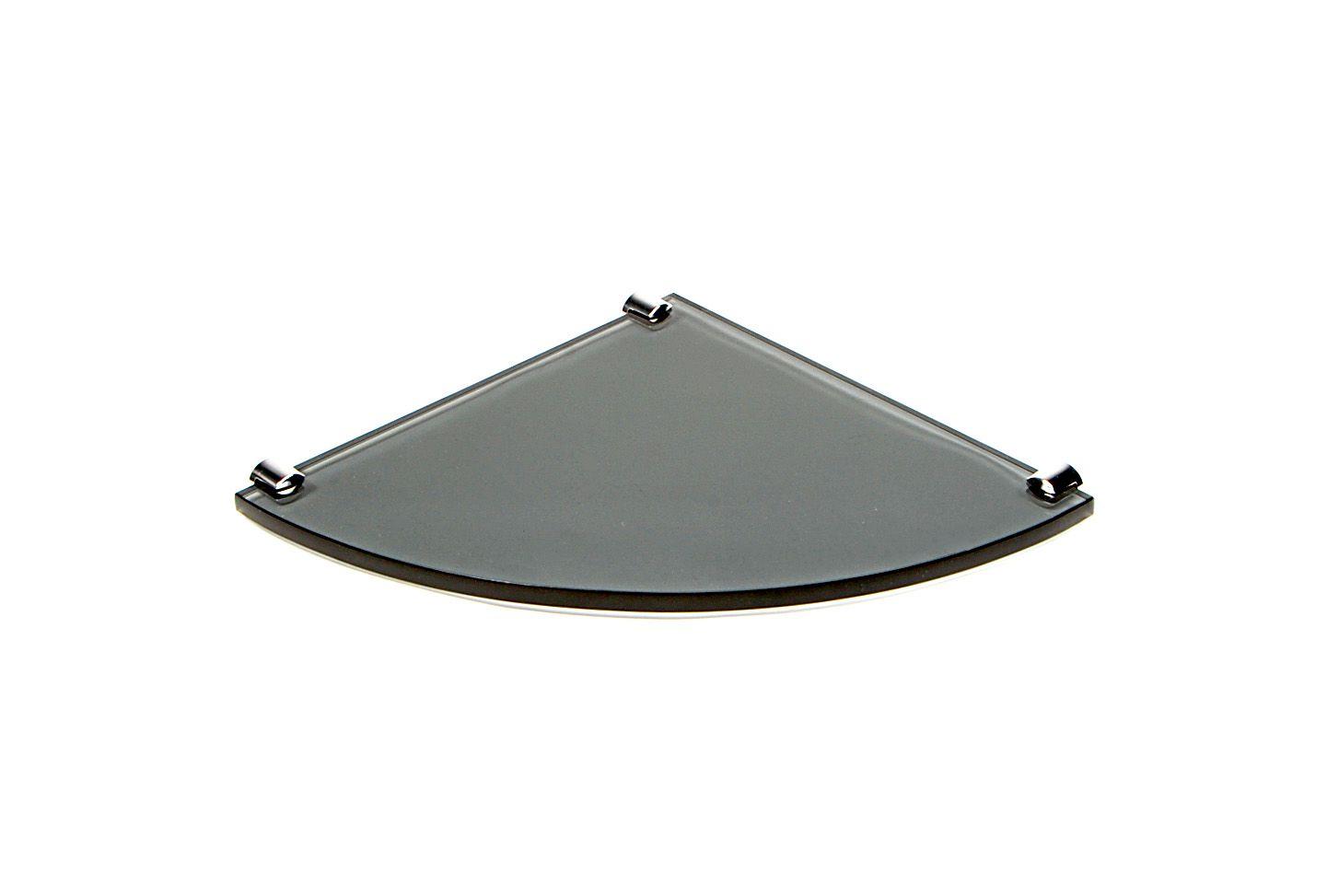 Porta Shampoo de Canto Curvo em Vidro Fumê Lapidado - Aquabox  - 25cmx25cmx10mm