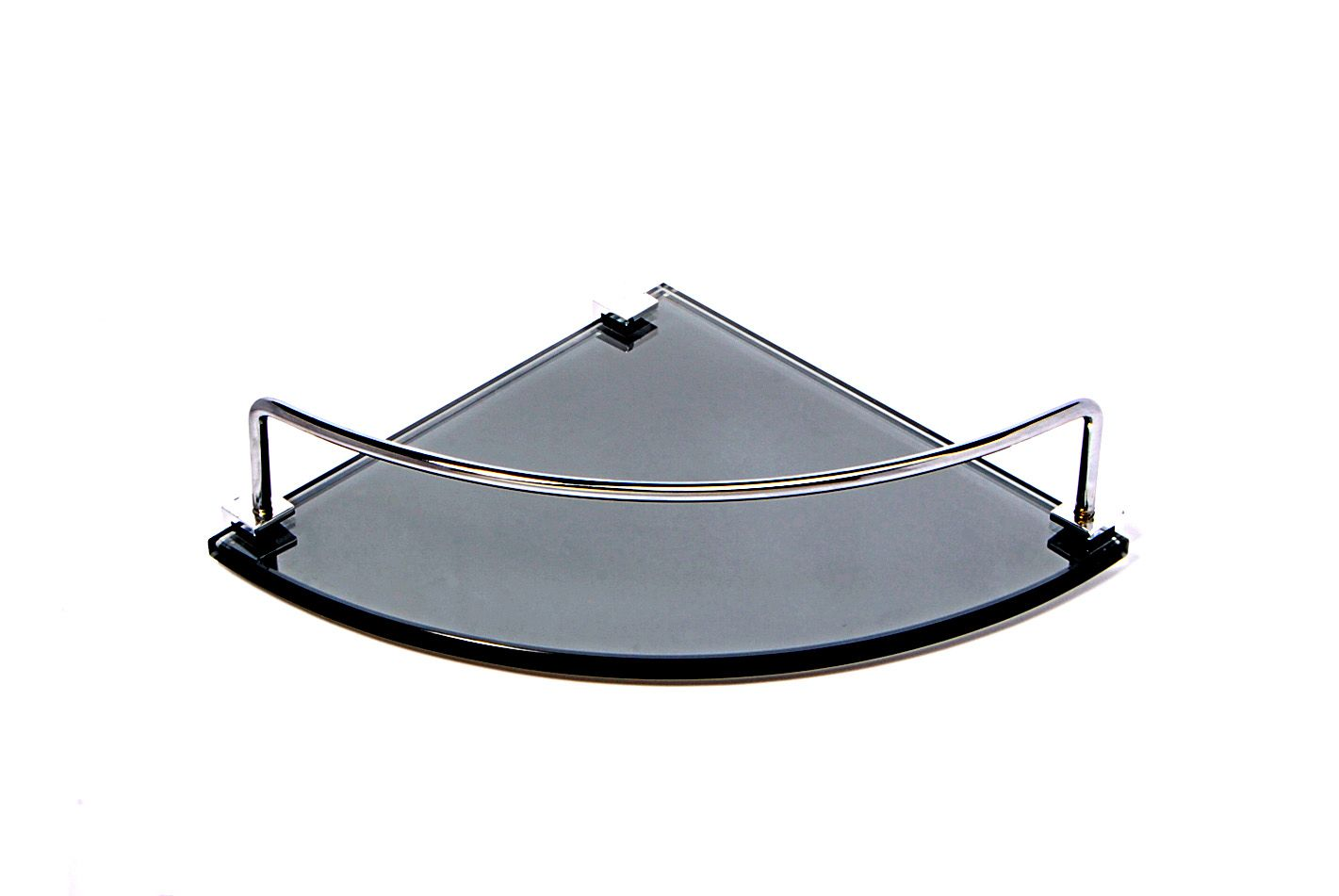 Porta Shampoo de Canto Curvo em Vidro Refletivo Lapidado - Aquabox  - 20cmx20cmx8mm
