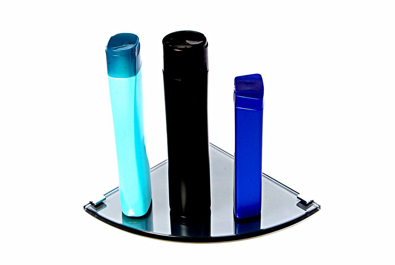 Porta Shampoo Canto Curvo em Vidro Refletivo Lapidado - Aquabox  - 20cmx20cmx8mm