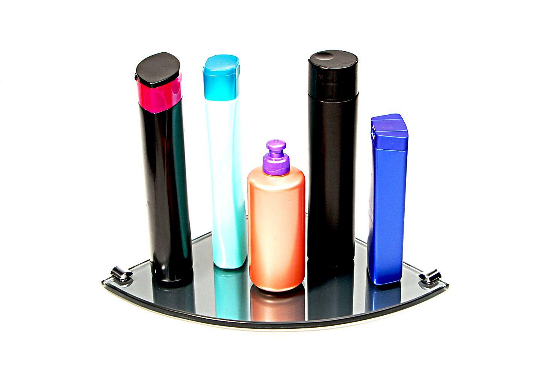Porta Shampoo de Canto Curvo em Vidro Refletivo Lapidado - Aquabox  - 25cmx25cmx8mm