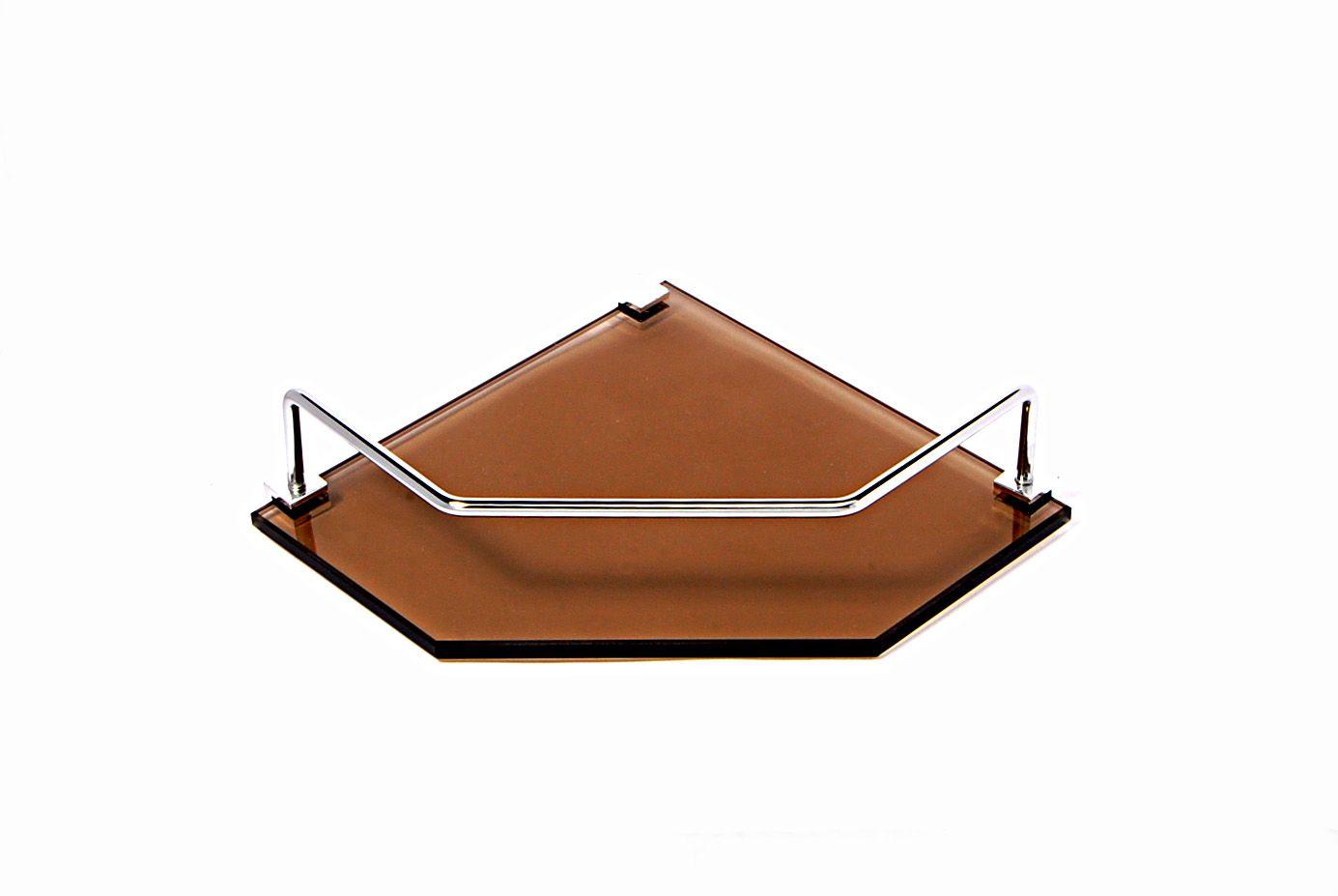 Porta Shampoo de Canto Reto em Vidro Bronze Lapidado - Aquabox  - 20cmx20cmx8mm