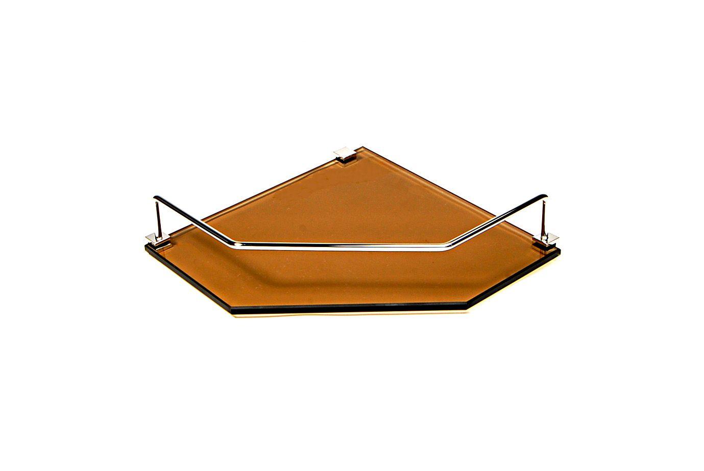 Porta Shampoo de Canto Reto em Vidro Bronze Lapidado - Aquabox  - 25cmx25cmx8mm