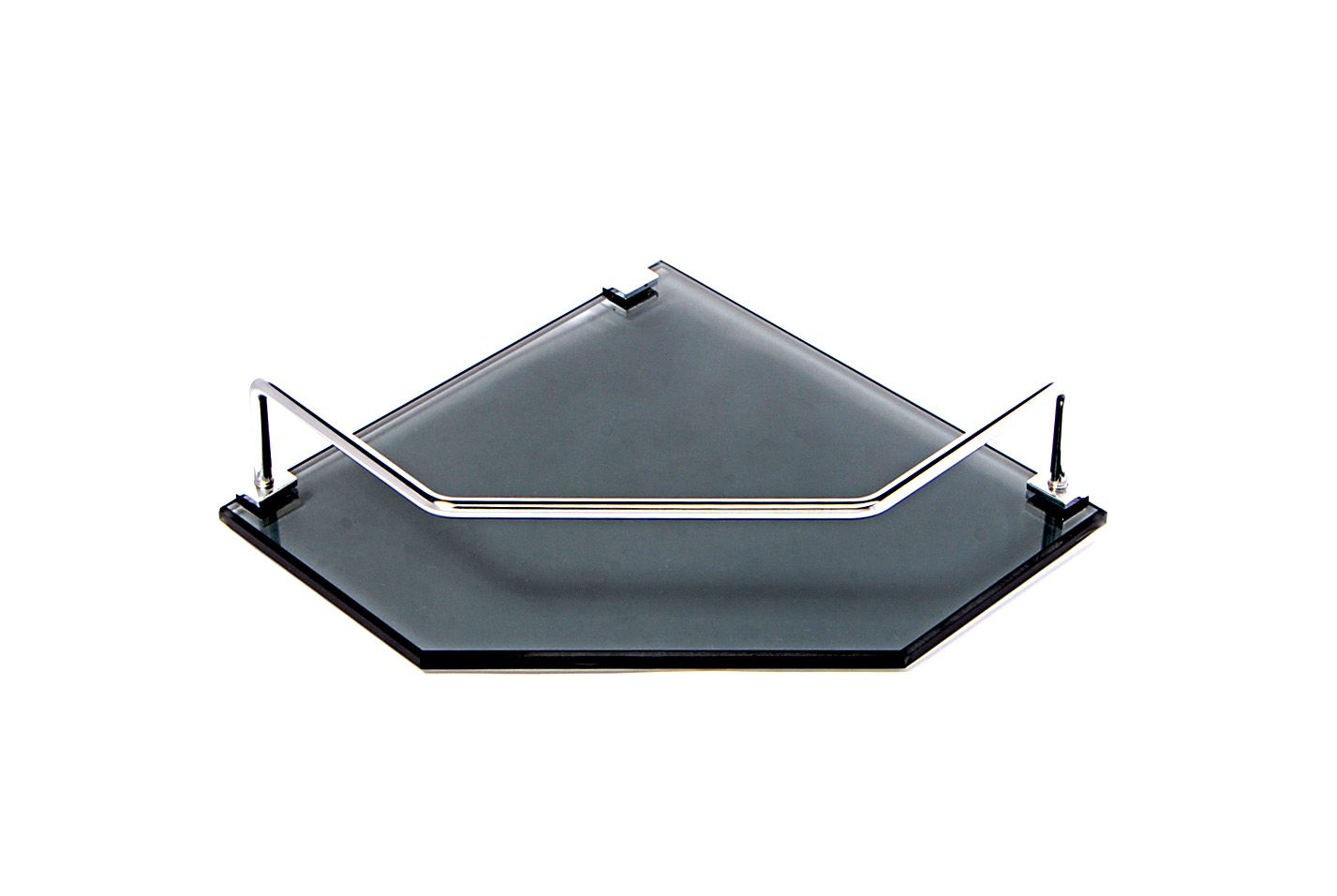 Porta Shampoo de Canto Reto em Vidro Fumê Lapidado - Aquabox  - 20cmx20cmx8mm