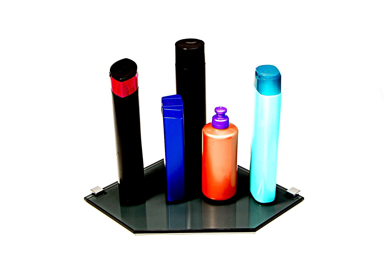 Porta Shampoo de Canto Reto em Vidro Fumê Lapidado - Aquabox  - 25cmx25cmx8mm