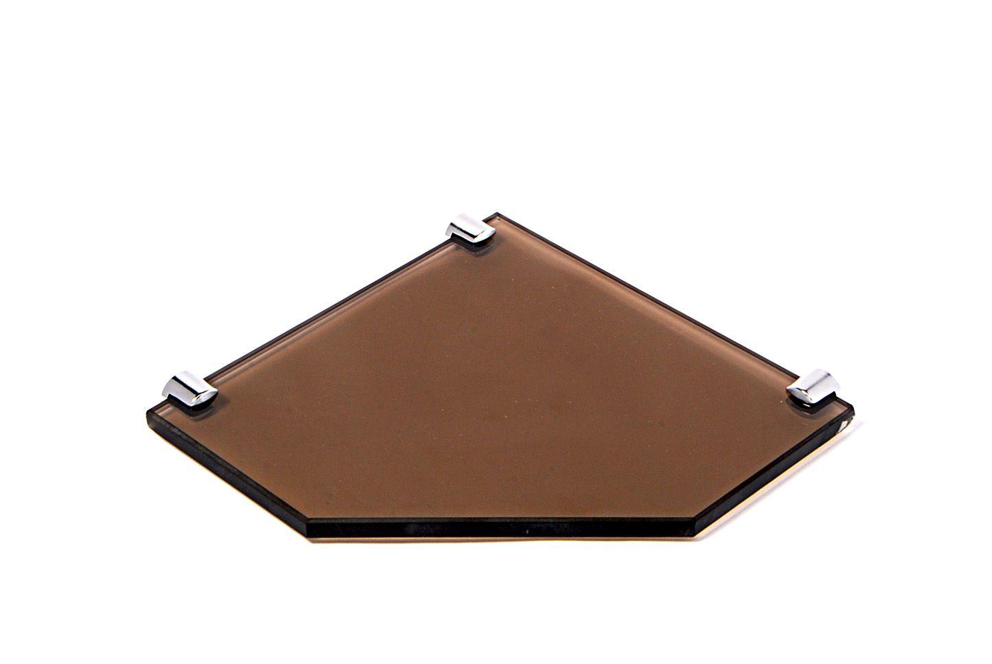 Porta Shampoo de Canto Reto em Vidro Bronze Lapidado - Aquabox  - 20cmx20cmx10mm