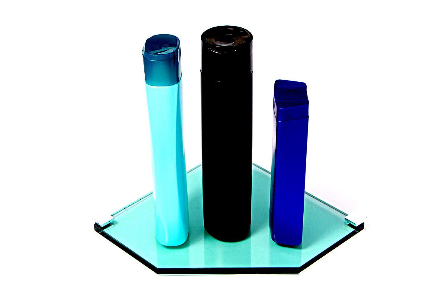 Porta Shampoo de Canto Reto em Vidro Verde Lapidado - Aquabox  - 20cmx20cmx8mm