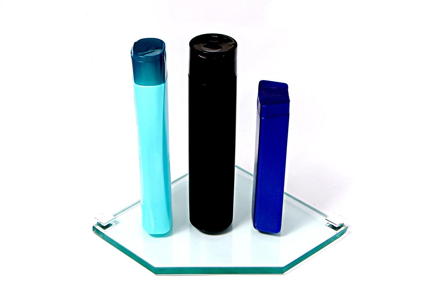Porta Shampoo de Canto Reto em Vidro Incolor Lapidado - Aquabox  - 20cmx20cmx10mm