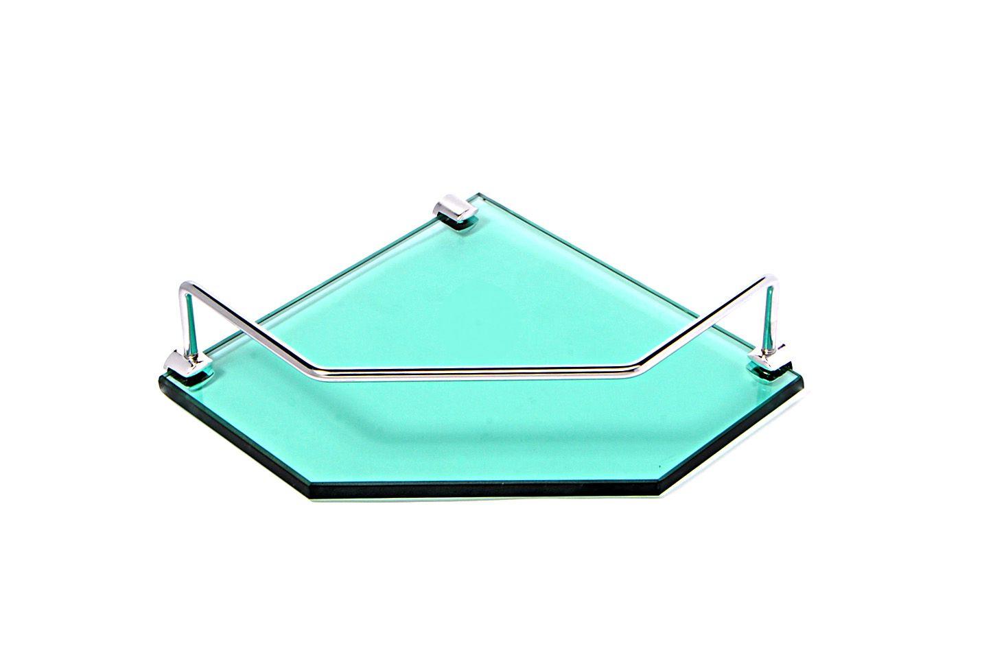 Porta Shampoo de Canto Reto em Vidro Verde Lapidado - Aquabox  - 20cmx20cmx10mm