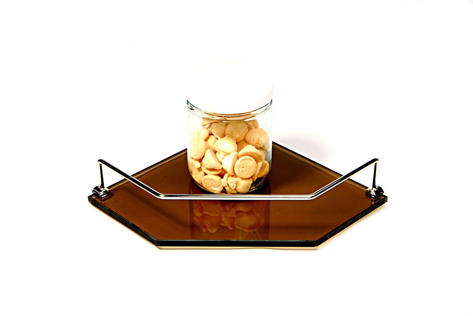 Porta Shampoo de Canto Reto em Vidro Bronze Lapidado - Aquabox  - 25cmx25cmx10mm