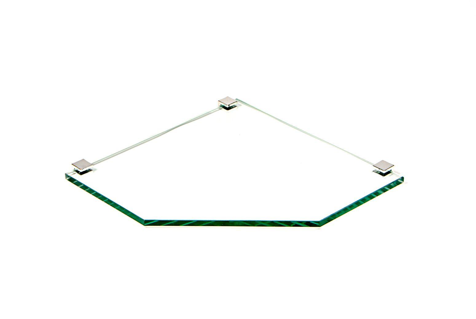 Porta Shampoo de Canto Reto em Vidro Incolor Lapidado - Aquabox  - 25cmx25cmx8mm