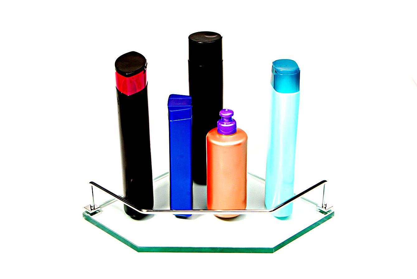 Porta Shampoo de Canto Reto em Vidro Incolor Lapidado - Aquabox  - 25cmx25cmx10mm